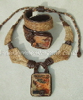 leather necklaces and cuff bracelets with stones