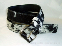 Black & White Hair Cowhide Belt  37mm - 41 inch