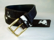Brown & White Hair Cowhide Belt - 35mm - 44 inch