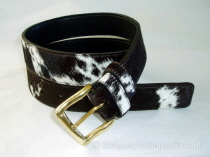 Brown & White Hair Cowhide Belt - 36mm - 42 inch