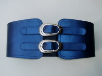 LS1 Blue Leather Corset Belt Oval Buckles  SOLD