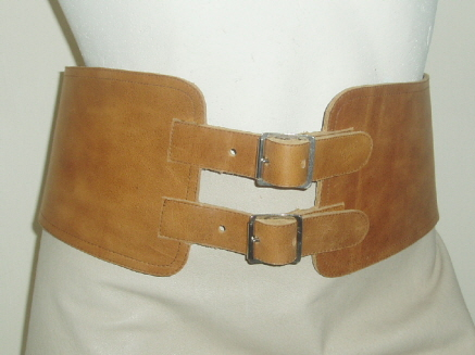 Light Tan Leather Corset Belt with Small Roller Buckles