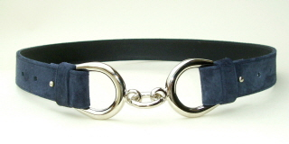 Navy Blue Suede Link Belt