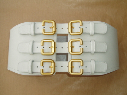 SG1 Stone White Leather Six Buckle Corset Belt