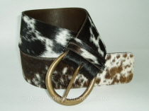 Tricolour Hair Cowhide Belt - 70mm - 44 inch