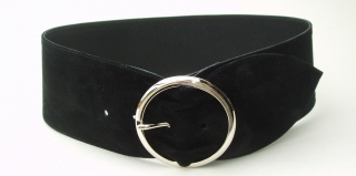 Very Wide Black Suede Belt